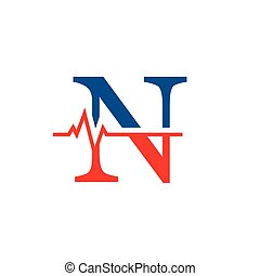 cardiogramme, n, vecteur, logo, initiale, lettre