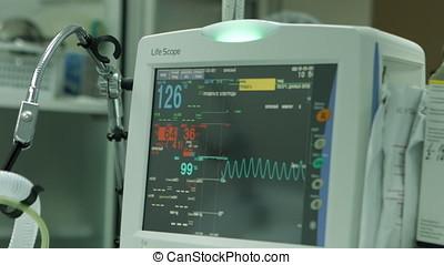cardiogramme, patient, contrôler, salle, opération
