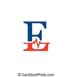 cardiogramme, vecteur, e, logo, initiale, lettre