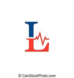 cardiogramme, vecteur, l, logo, initiale, lettre