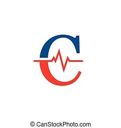 cardiogramme, vecteur, logo, c, initiale, lettre