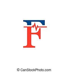 cardiogramme, vecteur, logo, f, initiale, lettre