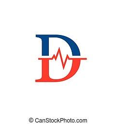cardiogramme, vecteur, logo, initiale, d, lettre