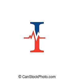 cardiogramme, vecteur, logo, initiale, lettre
