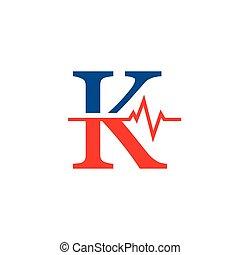 cardiogramme, vecteur, logo, k, initiale, lettre