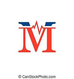 cardiogramme, vecteur, logo, m, initiale, lettre