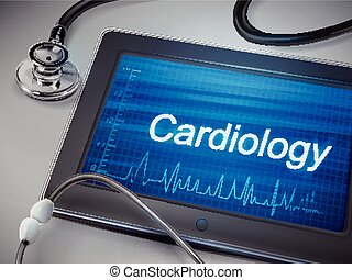 cardioilogy word display on tablet over table