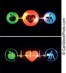 cardiología, asistencia médica, símbolos, conectado, con, latido de corazón, ritmo