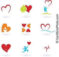 cardiología, y, corazón, iconos