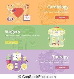 cardiologia, appartamento, set, web, medico, chirurgia, disegno, concetti, stampa, bandiere, materials., therapy.
