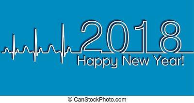 cardiologia, stile, concetto, stile di vita, bandiera, sano, medico, onda, anno, vettore, salute, 2018, nuovo, natale, felice