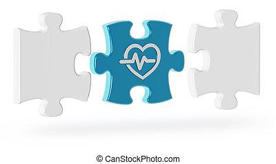 cardiologie, puzzle, illustration, morceaux, fond, blanc, 3d