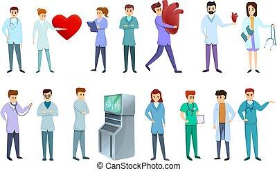 Cardiologist icons set, cartoon style