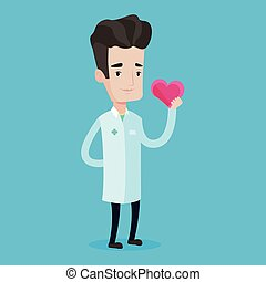 Doctor cardiologist holding heart.