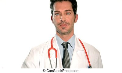 cardiologist - male doctor drawing heart on a white...