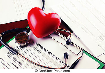 cardiologist stethoscope paper insurance