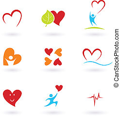 Collection of health and medical icons and symbols isolated on white.