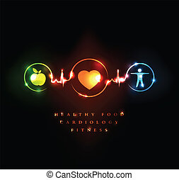 Medical, cardiology and Wellness symbol. Healthy food and fitness leads to healthy heart and healthy life.