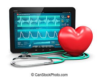 Creative abstract cardiology healthcare medicine and heart health disease medical tool technology concept: tablet computer PC with cardiologic diagnostic test software on screen, stethoscope and red heart shape isolated on white background Design is totally my own and all text labels are fully ...
