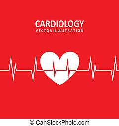 cardiology design - cardiology design over red background...