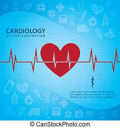 cardiology design over blue background vector illustration