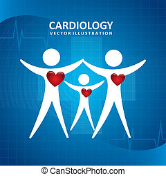 cardiology design over blue background vector illustration