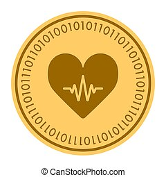 Cardiology golden digital coin icon. Vector style. gold yellow flat coin cryptocurrency symbol. isolated on white. eps 10