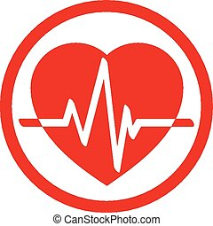 Cardiology icon with heart and card