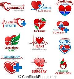 Cardiology medicine clinic vector heart icons