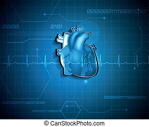 cardiology, medicinsk, abstrakt, baggrund., teknologi, concept.