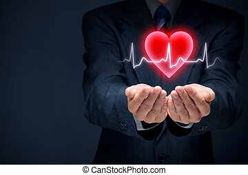 Cardiology, protect health (healthcare) and heart problems...