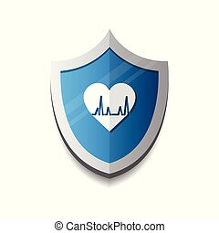 Cardiology Protection Heart Shield Icon Blue Concept