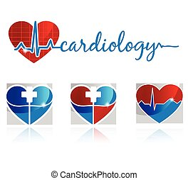 Cardiology symbols - Cardiology, vascular and health care...