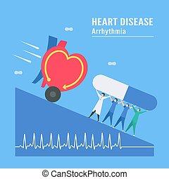 Cardiology vector illustration. On blue background, heart disease problem called tachycardia arrhythmia. Periodic signal is fast impulse response.