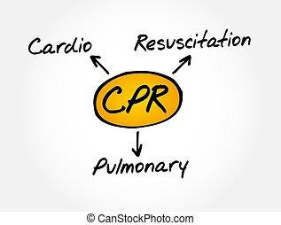 cardiopulmonaire, -, acronyme, concept médical, réanimation, cpr