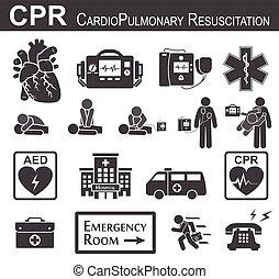 cardiopulmonar, )(, diseño, compresión, y, ), (, apoyo, bls, pecho, acls, negro, básico, blanco, resucitación, )and, plano, vida, boca, cardíaco, avanzado, icono, desfibrilación, cpr