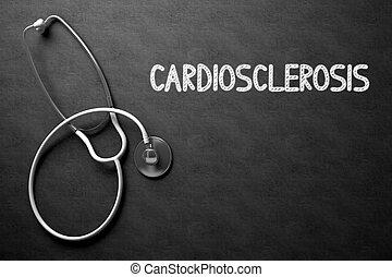 Cardiosclerosis Handwritten on Chalkboard. 3D Illustration....
