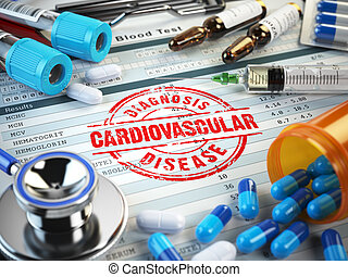 Cardiovascular disease diagnosis. Stamp, stethoscope, syringe, blood test and pills on the clipboard with medical report. 3d illustration