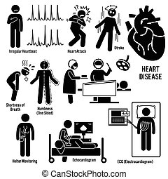 Cardiovascular Disease Heart Attack - Set of illustrations...