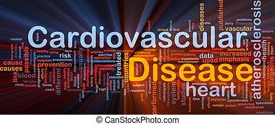 cardiovascular, doença, fundo, conceito, glowing