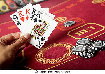 cards, в, рука