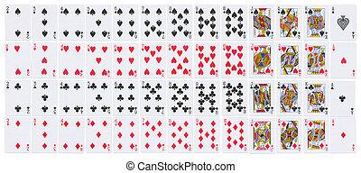 cards, полный, playing, палуба