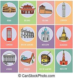 cards.-, セット, アイコン, 魅力, 有名, world., ∥あるいは∥