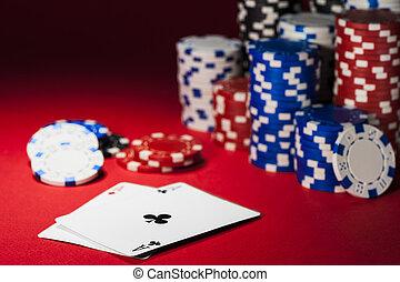 cards, and, покер, чипсы, на, , красный, ткань