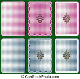 Playing cards back abstract design, three different arrangements, two colours