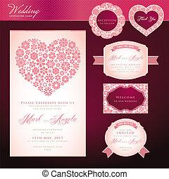cards, bryllup, sæt, invitation