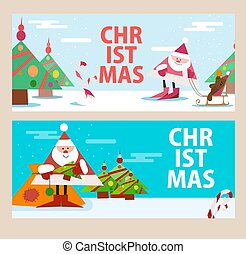 Cards for the new year with Santa Claus. Beautiful pictures. Vector illustration