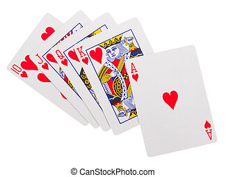Cards for the poker on the table