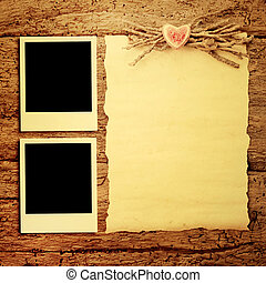 Cards for Valentine's Day or wedding, two frames for photos ...