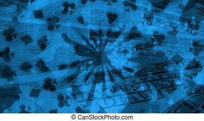 Cards gambling black and blue animated looping background -...
